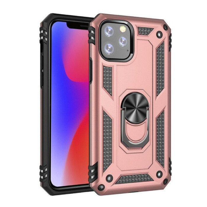 iPhone 11 Pro Max Hoesje  - Shockproof Case Cover Cas TPU Roze + Kickstand
