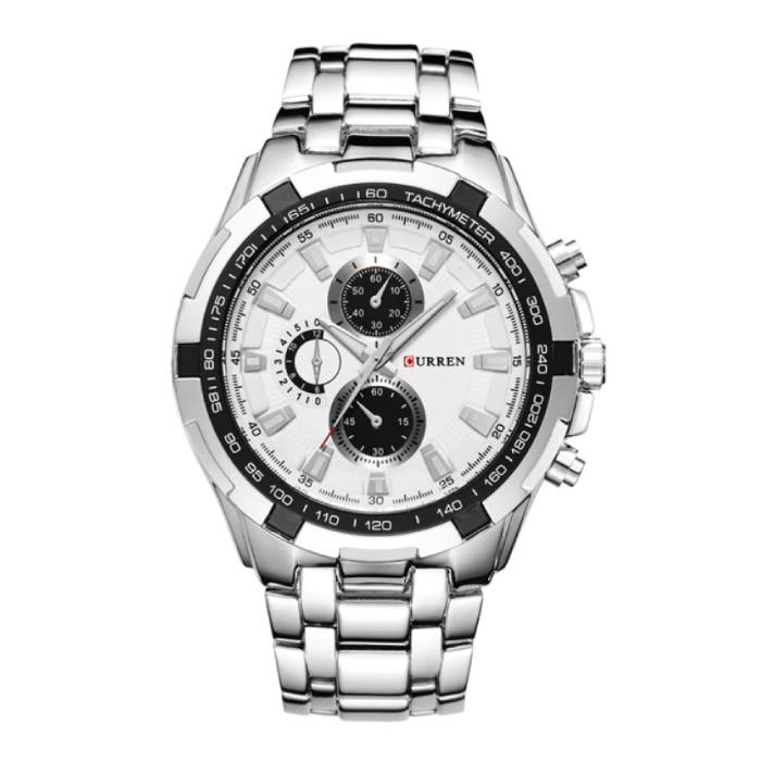 Montre de luxe à quartz - Bracelet en cuir Mouvement Anologue pour homme - Acier inoxydable - Noir-Blanc - Copy