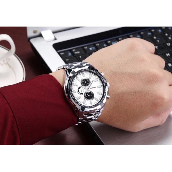 Curren Staal Horloge voor Heren - Leren Bandje Anoloog Luxe Uurwerk voor Mannen Kwarts