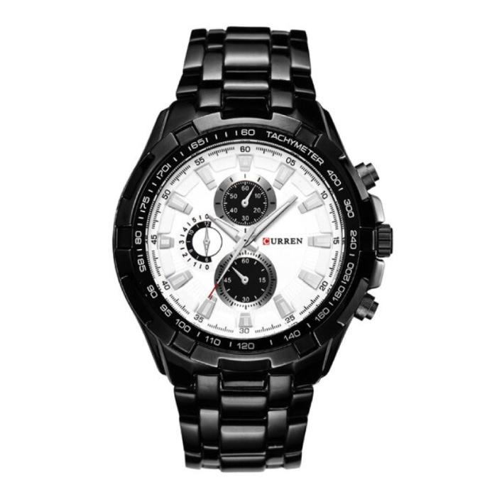 Staal Horloge voor Heren - Leren Bandje Anoloog Luxe Uurwerk voor Mannen Kwarts
