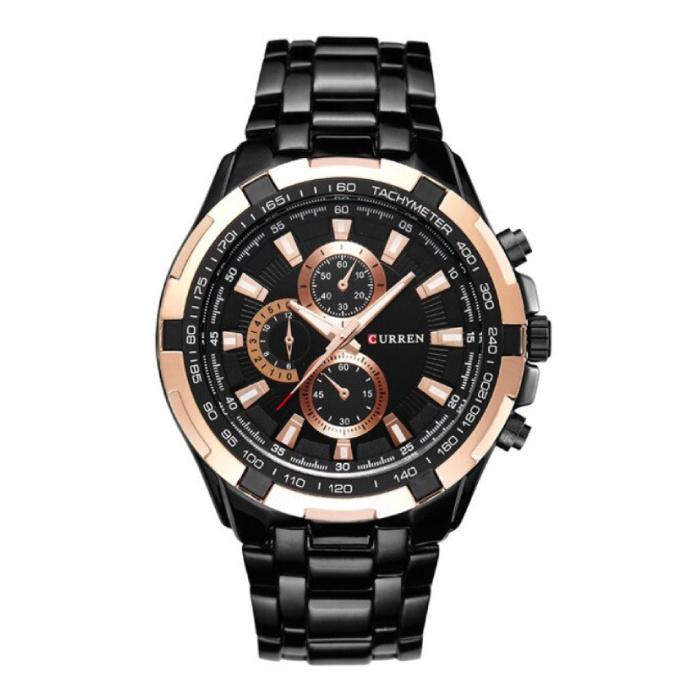 Montre en acier pour homme - Bracelet en cuir Anologue Luxury Movement for Men Quartz