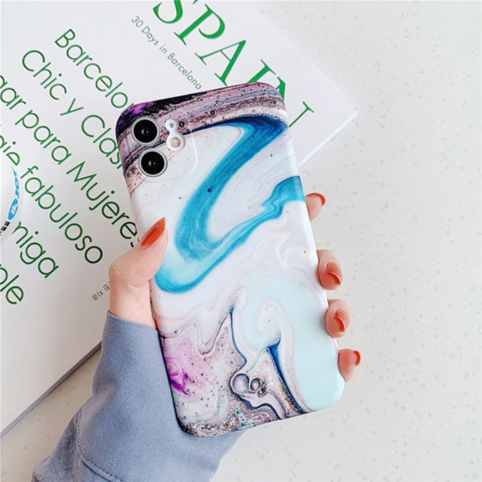 iPhone 8 Hoesje Marmer Textuur - Shockproof Glossy Case Graniet Cover Cas TPU