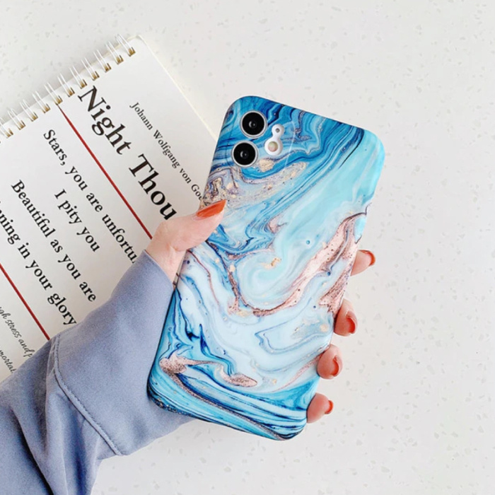 iPhone XS Hoesje Marmer Textuur - Shockproof Glossy Case Graniet Cover Cas TPU