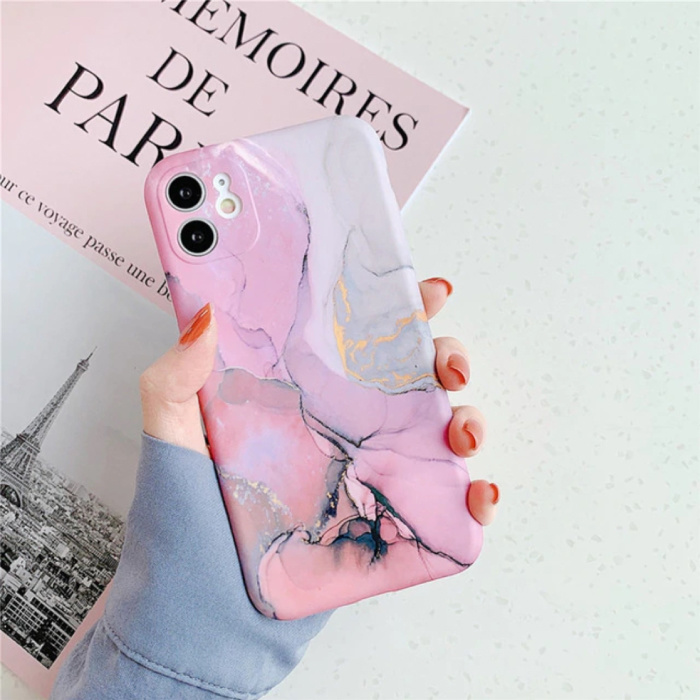 iPhone XR Hoesje Marmer Textuur - Shockproof Glossy Case Graniet Cover Cas TPU