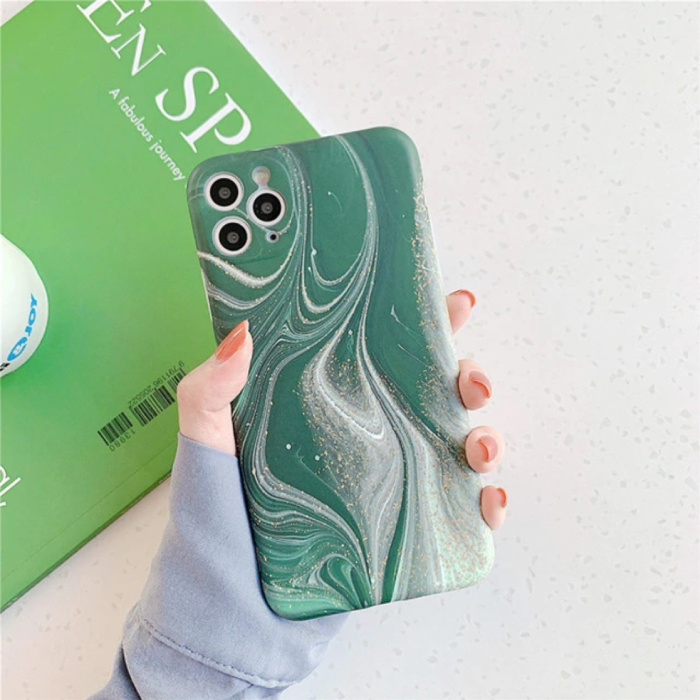 iPhone 8 Case Marble Texture - Shockproof Glossy Case Granite Cover Cas TPU