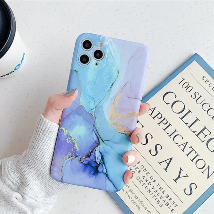 Coque iPhone 8 Plus Marble Texture - Coque antichoc brillante Granite Cover Cas TPU