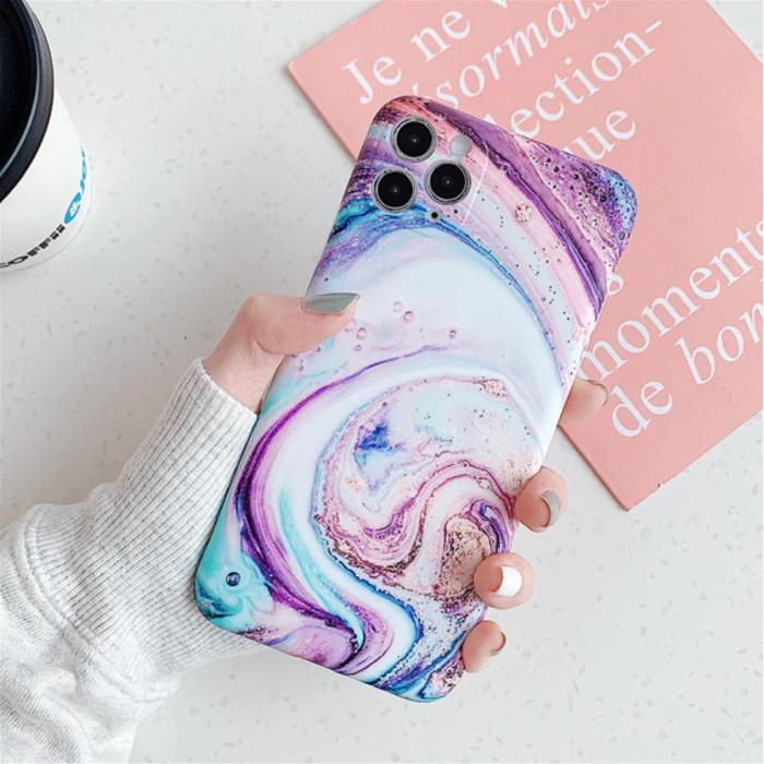 iPhone 8 Case Marble Texture - Coque antichoc brillante Granite Cover Cas TPU