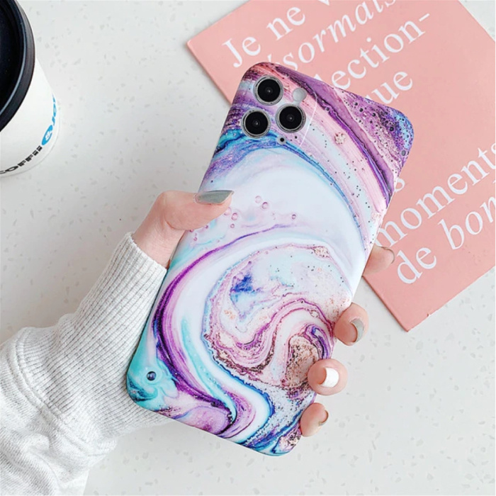 iPhone 8 Plus Hoesje Marmer Textuur - Shockproof Glossy Case Graniet Cover Cas TPU