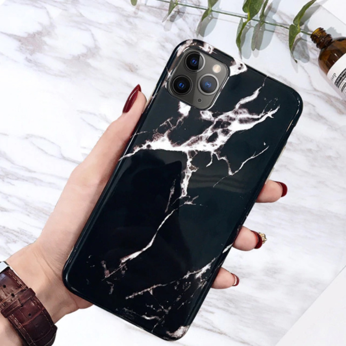 iPhone 11 Hoesje Marmer Textuur - Shockproof Glossy Case Graniet Cover Cas TPU
