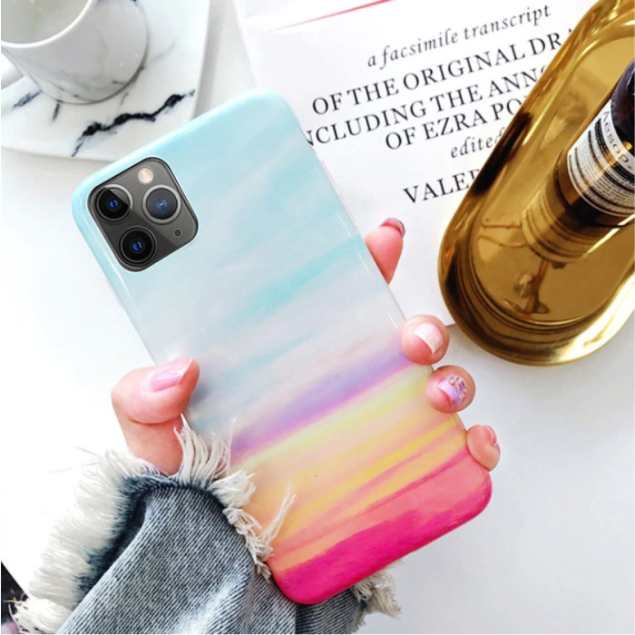 iPhone 6 Plus Hoesje Marmer Textuur - Shockproof Glossy Case Graniet Cover Cas TPU