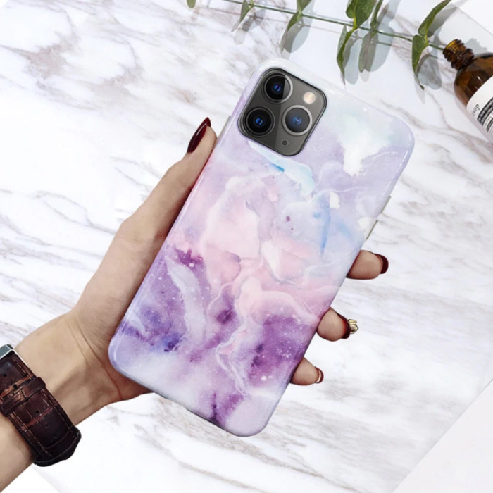 iPhone 11 Pro Hoesje Marmer Textuur - Shockproof Glossy Case Graniet Cover Cas TPU