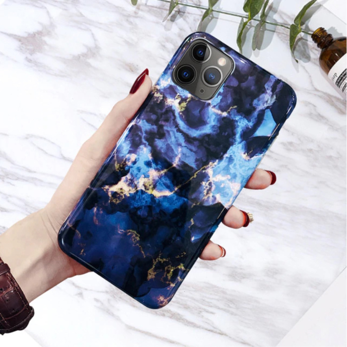 iPhone 11 Pro Max Hülle Marmor Textur - Stoßfeste glänzende Hülle Granit Abdeckung Cas TPU