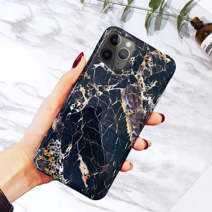 iPhone X Hoesje Marmer Textuur - Shockproof Glossy Case Graniet Cover Cas TPU