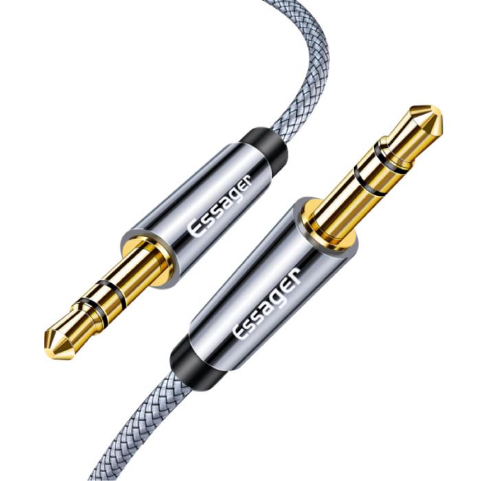 AUX-Kabel 3,5 mm geflochtene Nylon-Audiobuchse - 2 Meter