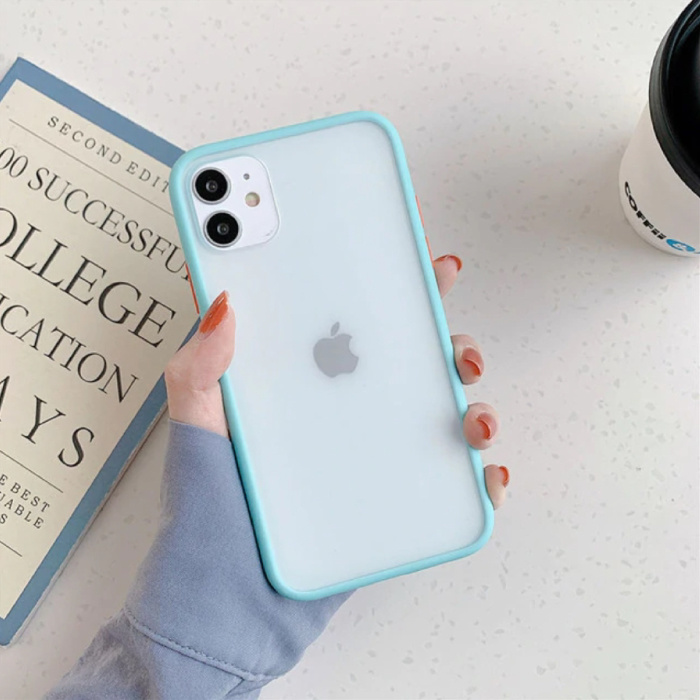 iPhone SE (2020) Bumper Hoesje Case Cover Silicone TPU Anti-Shock Lichtblauw