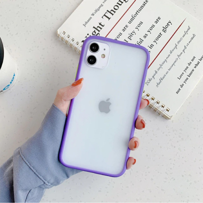 iPhone 8 Plus Bumper Hoesje Case Cover Silicone TPU Anti-Shock Paars