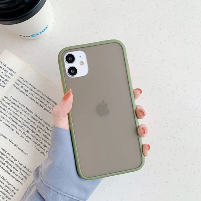 iPhone 11 Bumper Hoesje Case Cover Silicone TPU Anti-Shock Kaki