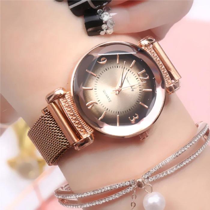 Pearl Luxe Horloge Dames - Anoloog Kwarts Uurwerk voor Vrouwen Rose Gold