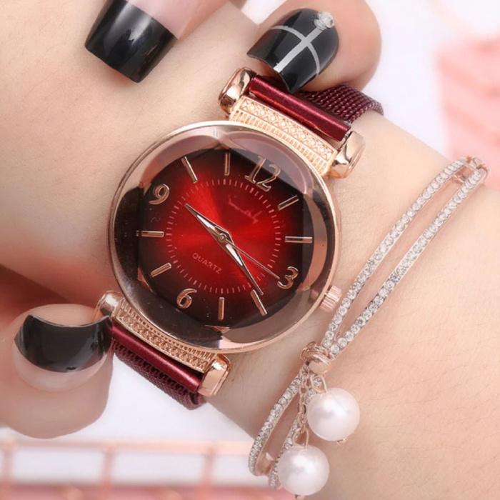 Pearl Luxe Horloge Dames - Anoloog Kwarts Uurwerk voor Vrouwen Rood