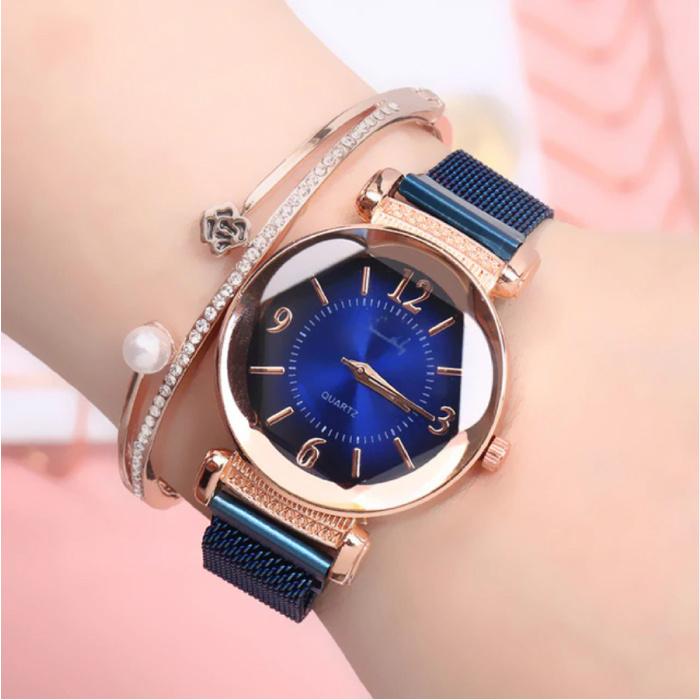 Pearl Luxe Horloge Dames - Anoloog Kwarts Uurwerk voor Vrouwen Blauw