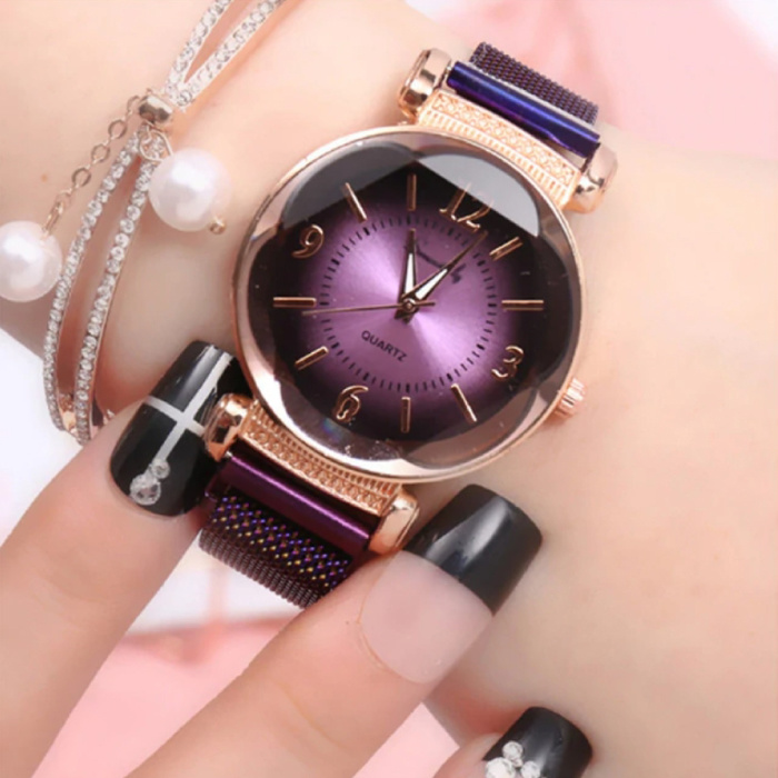 Pearl Luxury Watch Ladies - Mouvement à quartz Anologue pour femme Violet