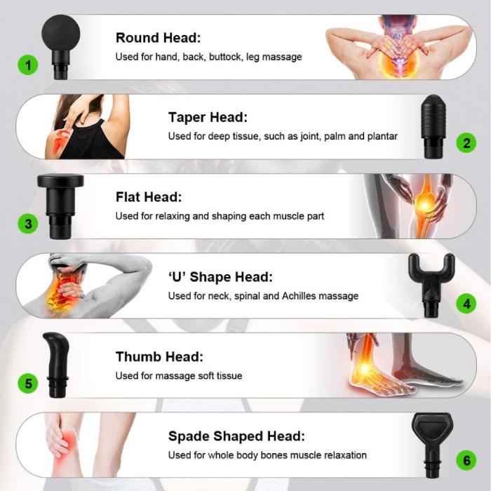 Bandinono Professioneel Massage Apparaat Gun - 30 Standen - 6 Koppen - Inclusief Opbergtas - Sport en Relax - Zwart