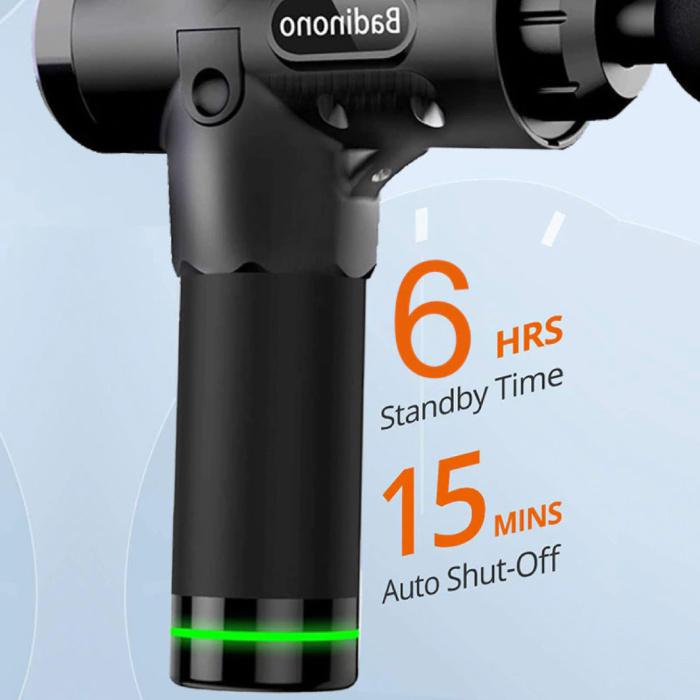 Bandinono Pistolet pour appareil de massage professionnel - 30 réglages - 6 têtes - sac de rangement inclus - Sport et détente - Argent