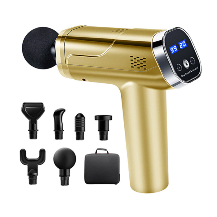 Professional Massage Device Gun - 20 Settings - 6 Heads - Including Storage Bag - Sport and Relax - Gold