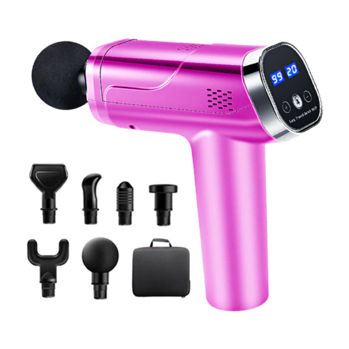 Professional Massage Device Gun - 20 Settings - 6 Heads - Including Storage Bag - Sport and Relax - Pink