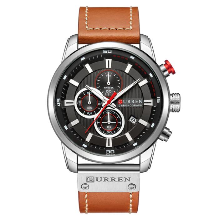 Montre pour homme avec bracelet en cuir - Mouvement à quartz de luxe Anologian pour homme - Acier inoxydable - Orange-Argent