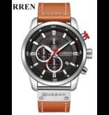 Curren Heren Horloge met Leren Bandje - Anoloog Luxe Kwarts Uurwerk voor Mannen - Roestvrij staal - Oranje-Zilver