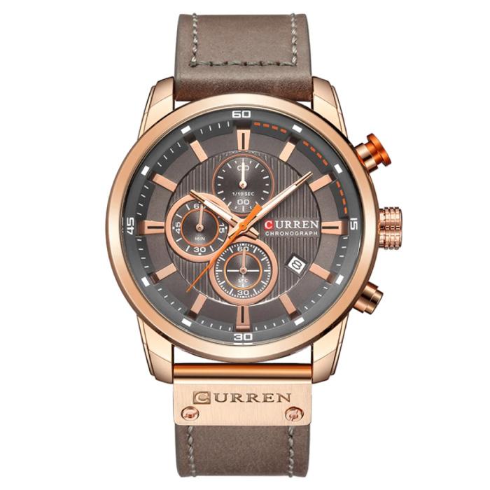 Curren Heren Horloge met Leren Bandje - Anoloog Luxe Kwarts Uurwerk voor Mannen - Roestvrij staal - Grijsbruin