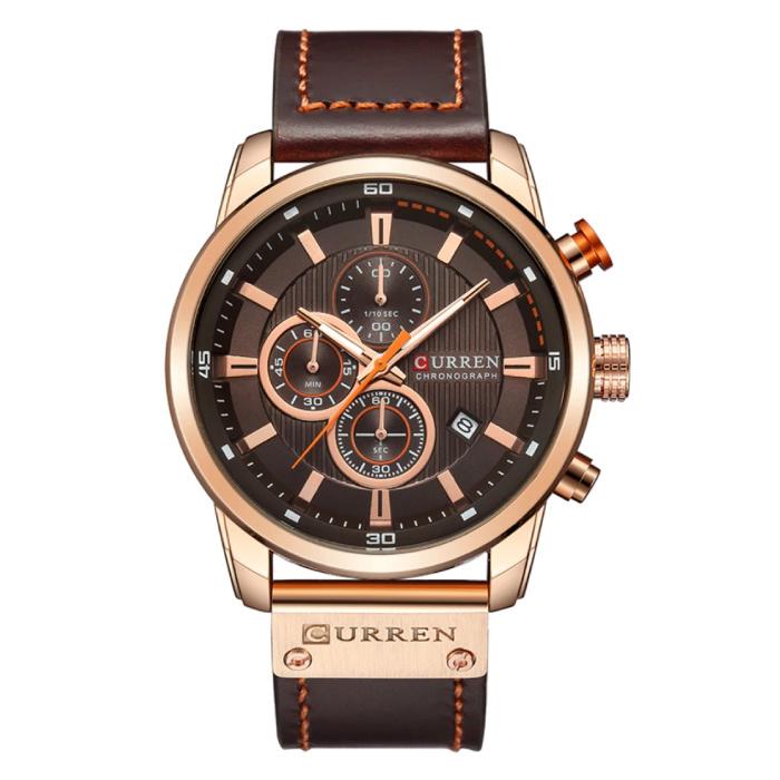 Montre pour homme avec bracelet en cuir - Mouvement à quartz de luxe Anologian pour homme - Acier inoxydable - Marron