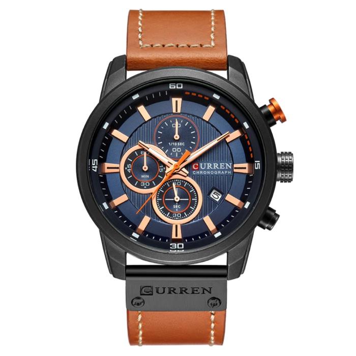 Heren Horloge met Leren Bandje - Anoloog Luxe Kwarts Uurwerk voor Mannen - Roestvrij staal - Oranje-Zwart