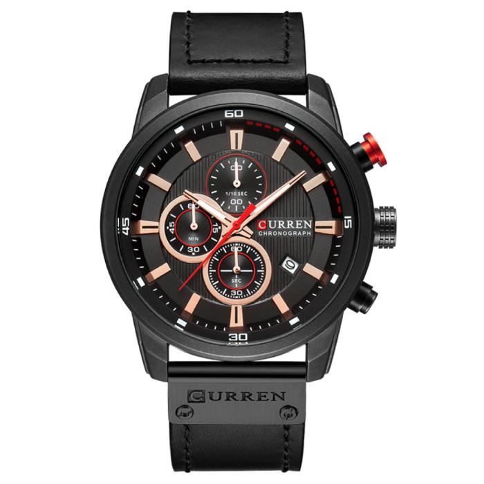 Montre pour homme avec bracelet en cuir - Mouvement à quartz de luxe Anologian pour homme - Acier inoxydable - Noir