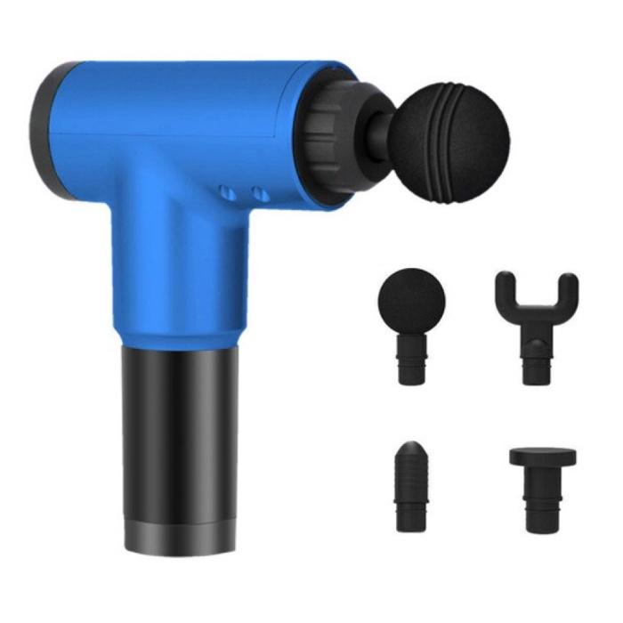 Pistolet pour appareil de massage professionnel - 4 réglages - 4 têtes - Sport et détente - Bleu