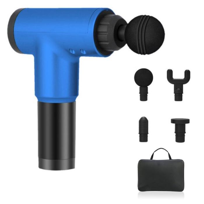 Professionelle Massagegerät-Pistole inklusive Aufbewahrungstasche - 4 Positionen - 4 Köpfe - Sport und Entspannung - Blau