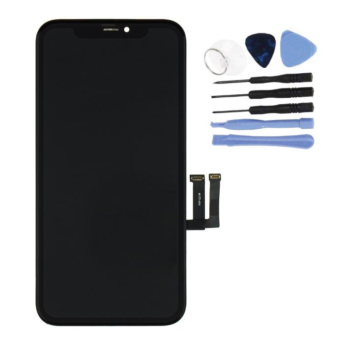 iPhone 11 Bildschirm (Touchscreen + OLED + Teile) AA + Qualität - Schwarz + Werkzeuge