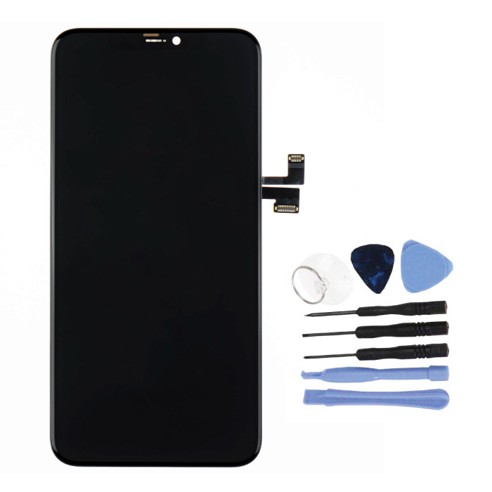 iPhone 11 Pro Max Bildschirm (Touchscreen + OLED + Teile) AAA + Qualität - Schwarz + Werkzeuge