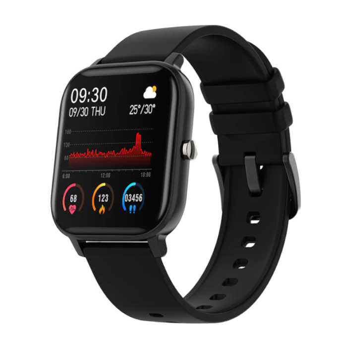 P8 Smartwatch Smartband Smartphone Fitness Sport Activity Tracker Horloge OLED iOS iPhone Android Zwart Siliconen Bandje