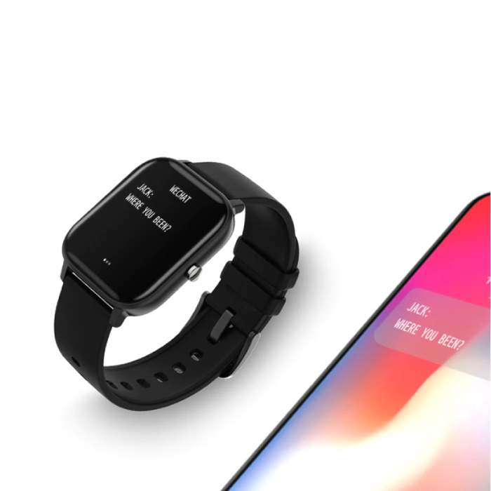 COLMI P8 Smartwatch Smartband Smartphone Fitness Sport Activity Tracker Horloge OLED iOS iPhone Android Zwart Siliconen Bandje