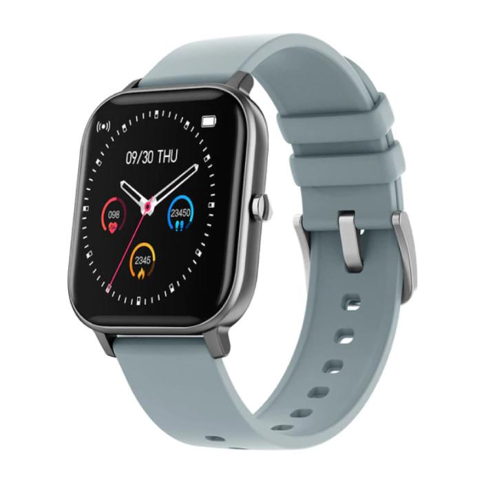 P8 Smartwatch Smartband Smartphone Fitness Sport Aktivität Tracker Uhr OLED iOS iPhone Android Silikonband Grau
