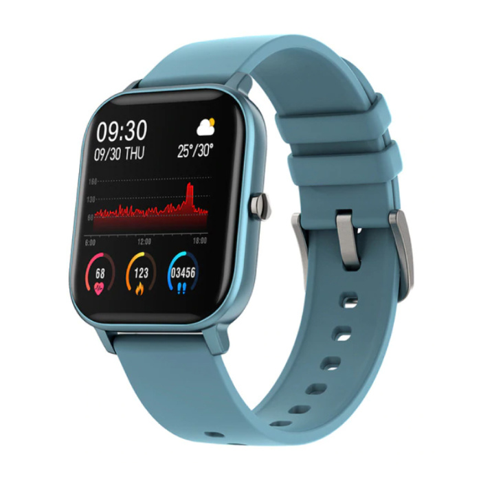 P8 Smartwatch Smartband Smartphone Fitness Sport Activity Tracker Watch OLED iOS iPhone Android Silicone Strap Blue