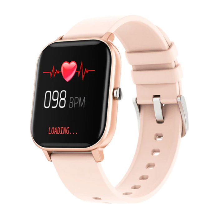 P8 Smartwatch Smartband Smartphone Fitness Sport Activité Tracker Montre OLED iOS iPhone Android Bracelet En Silicone Or Rose