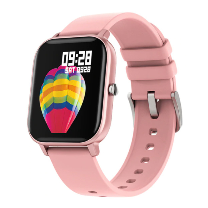 P8 Smartwatch Smartband Smartphone Fitness Sport Activity Tracker Horloge OLED iOS iPhone Android Siliconen Bandje Roze