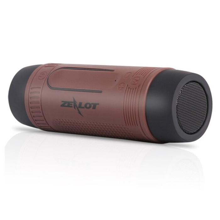 S1 Draadloze Luidspreker met Zaklamp voor Fiets - Soundbar Wireless Bluetooth 5.0 Speaker Box Bruin