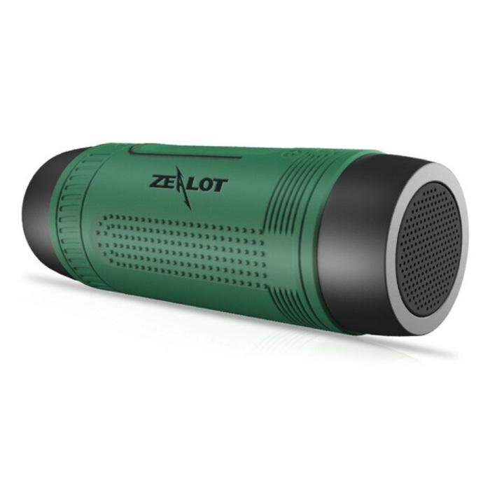 S1 Draadloze Luidspreker met Zaklamp voor Fiets - Soundbar Wireless Bluetooth 5.0 Speaker Box Groen