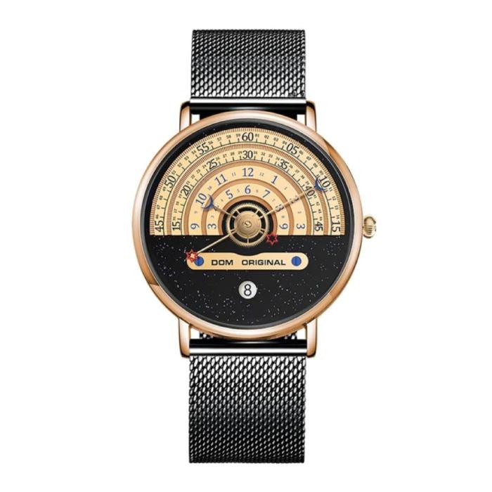 Night and Day Horloge - Anoloog Luxe Uurwerk voor Mannen en Vrouwen - Zwart