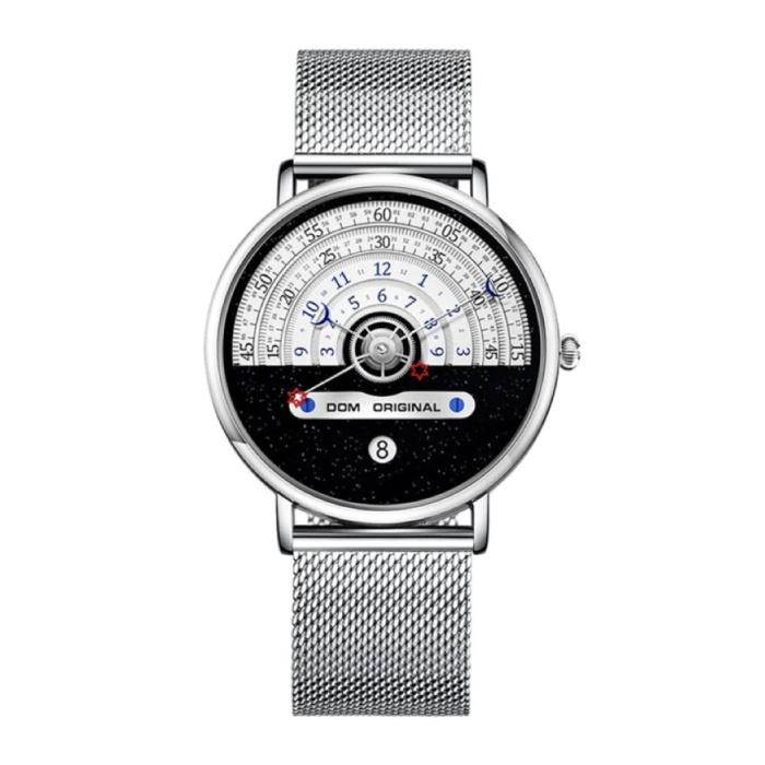 Night and Day Horloge - Anoloog Luxe Uurwerk voor Mannen en Vrouwen - Zilver
