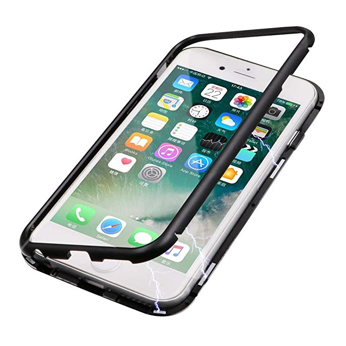 iPhone 6S Magnetic 360 ° Case with Tempered Glass - Full Body Cover Case + Black Screen Protector